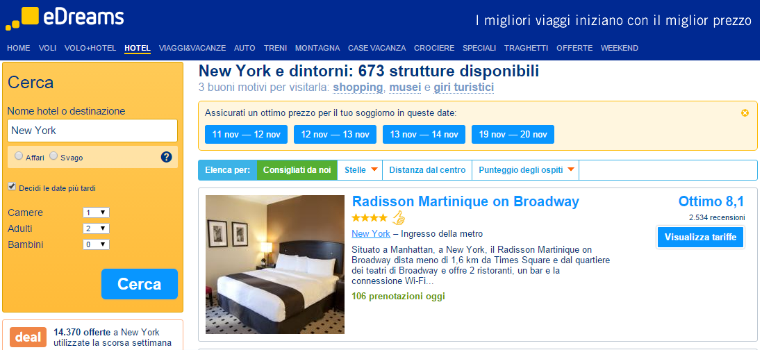 Edreams opinioni 2015, hotel, voli, volo+hotel e offerte