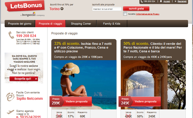 LetsBonus Viaggi Online