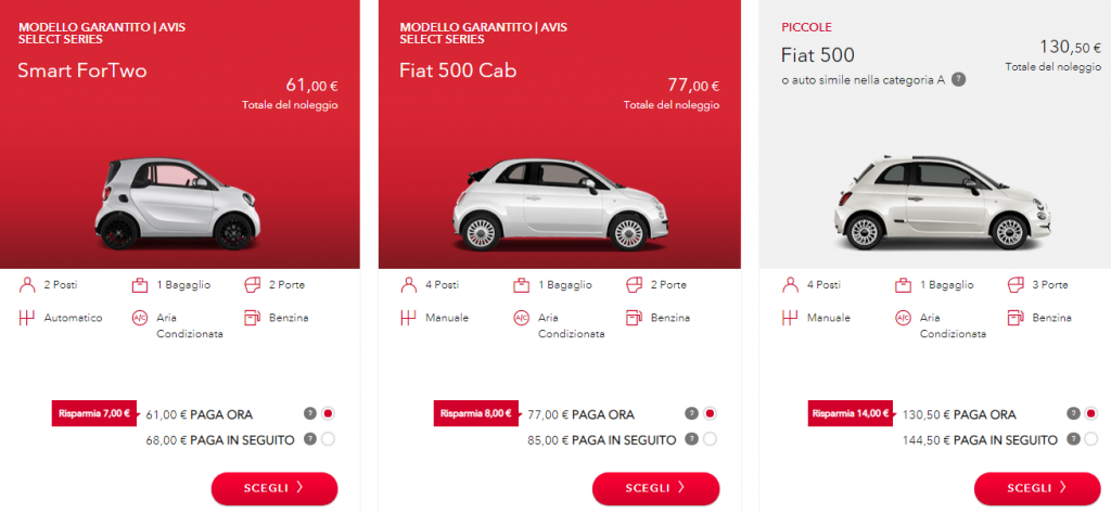 avis autonoleggio tariffe